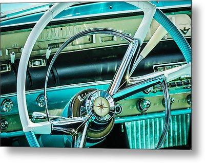 1956 Lincoln Premiere Steering Wheel -0838c Metal Print by Jill Reger