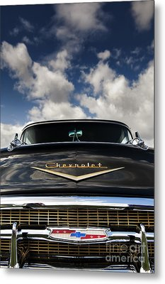 1957 Black Chevrolet Bel Air  Metal Print by Tim Gainey