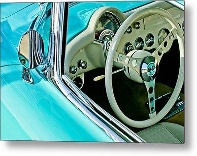 1957 Chevrolet Corvette Steering Wheel Emblem Metal Print by Jill Reger