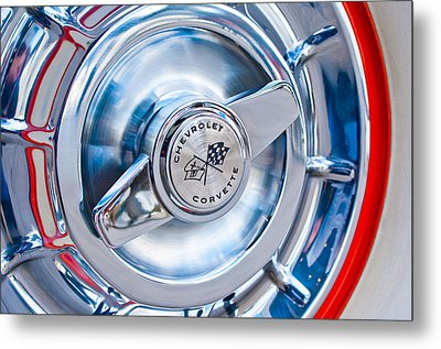 1957 Chevrolet Corvette Wheel 3 Metal Print by Jill Reger