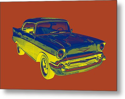 1957 Chevy Bel Air Car Pop Art  Metal Print by Keith Webber Jr