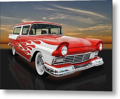 1957 Ford Ranch Wagon -  57fordrnchwag Metal Print by Frank J Benz