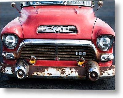 1957 Gmc V8 Pickup Truck Grille Emblem Metal Print