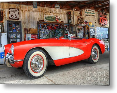 1957 Little Red Corvette Route 66 Metal Print by Bob Christopher