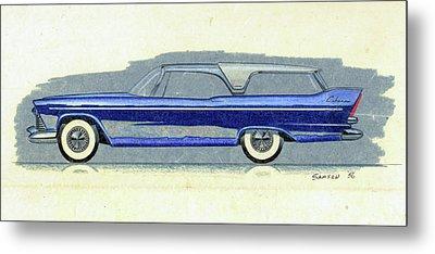 1957 Plymouth Cabana  Station Wagon Styling Design Concept Sketch Metal Print by John Samsen