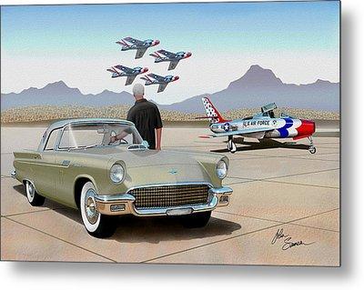 1957 Thunderbird  With F-84 Thunderbirds Inca Vintage Ford Classic Art Sketch Rendering            Metal Print by John Samsen