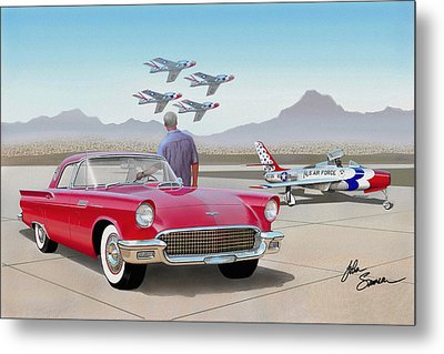 1957 Thunderbird  With F-84 Thunderbirds  Red  Classic Ford Vintage Art Sketch Rendering         Metal Print by John Samsen