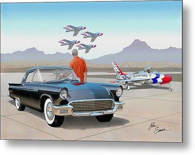 1957 Thunderbird  With F-84 Thunderbirds Vintage Ford Classic Car Art Sketch Rendering          Metal Print by John Samsen