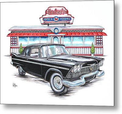 1958 Plymouth Savoy And Diner Metal Print by Shannon Watts