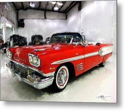 1958 Pontiac Bonneville Convertible Metal Print