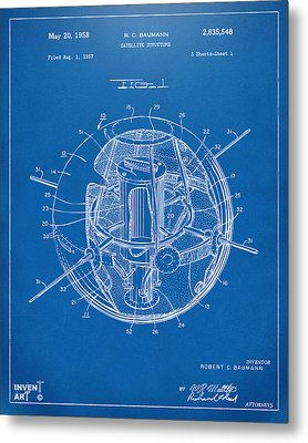 1958 Space Satellite Structure Patent Blueprint Metal Print by Nikki Marie Smith