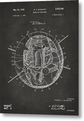 1958 Space Satellite Structure Patent Gray Metal Print by Nikki Marie Smith