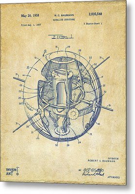 1958 Space Satellite Structure Patent Vintage Metal Print by Nikki Marie Smith