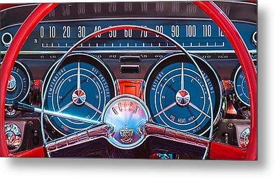 1959 Buick Lesabre Steering Wheel Metal Print by Jill Reger