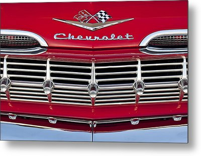 1959 Chevrolet Grille Ornament Metal Print by Jill Reger