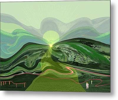196 - Mountain-morning   Metal Print by Irmgard Schoendorf Welch
