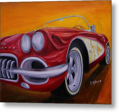 1960 Corvette - Red Metal Print