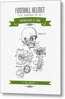 1960 Football Helmet Patent Drawing - Retro Green Metal Print by Aged Pixel