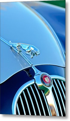 1960 Jaguar Mk II 2.4-liter Saloon Grille Emblem - Hood Ornament Metal Print by Jill Reger