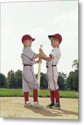 1960s Boys Children Baseball Sports Metal Print