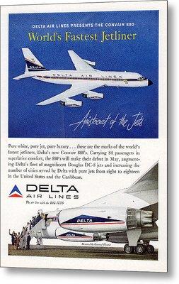 1960s Delta Convair 880 Ad Metal Print
