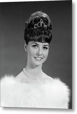 1960s Pretty Young Woman Wearing Tiara Metal Print