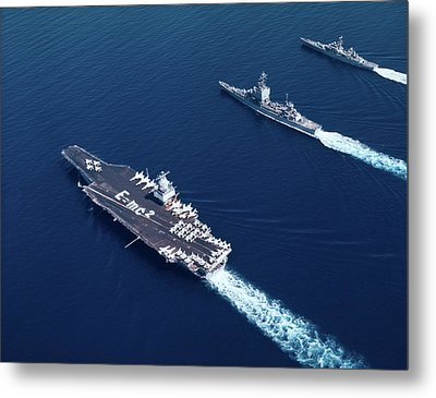 1960s Three Naval Ships On Parallel Metal Print
