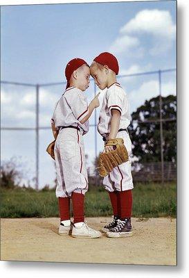 1960s Two Boys Wearing Little League Metal Print