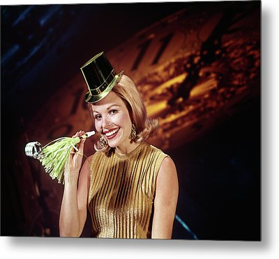1960s Young Blonde Woman Looking Metal Print