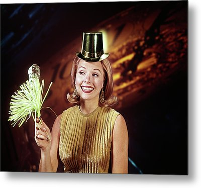 1960s Young Blonde Woman Party Hat Metal Print