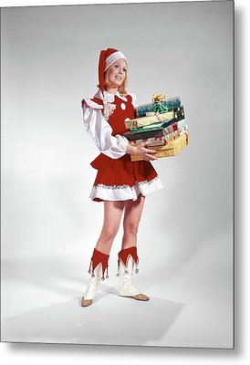 1960s Young Woman In Christmas Santa Metal Print