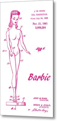 1961 Barbie Doll Patent Art 3 Metal Print by Nishanth Gopinathan