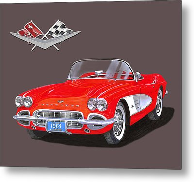 1961 Corvette Convertible Metal Print by Jack Pumphrey