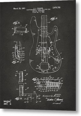 1961 Fender Guitar Patent Artwork - Gray Metal Print