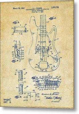 1961 Fender Guitar Patent Artwork - Vintage Metal Print by Nikki Marie Smith