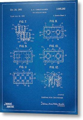 1961 Lego Brick Patent Artwork - Blueprint Metal Print by Nikki Marie Smith