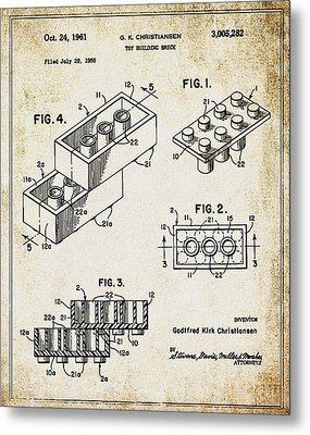 1961 Lego Patent Metal Print by Bill Cannon