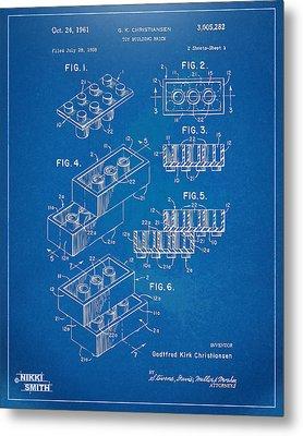 1961 Toy Building Brick Patent Artwork - Blueprint Metal Print by Nikki Marie Smith