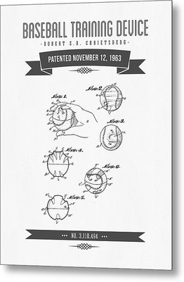 1963 Baseball Training Device Patent Drawing Metal Print by Aged Pixel