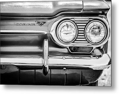 1963 Chevrolet Corvair Monza Spyder Headlight Emblem -0594bw Metal Print by Jill Reger