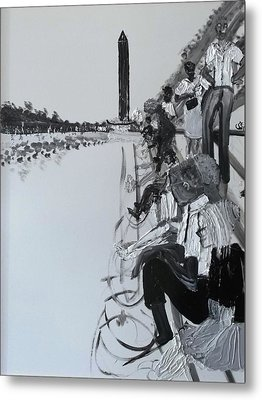 1963 D.c. Monument And Reflecting Pond Metal Print by Leslie Byrne