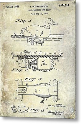 1963 Duck Decoy Patent Drawing Metal Print