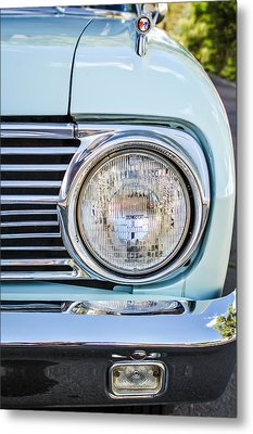 1963 Ford Falcon Futura Convertible Headlight - Hood Ornament Metal Print by Jill Reger