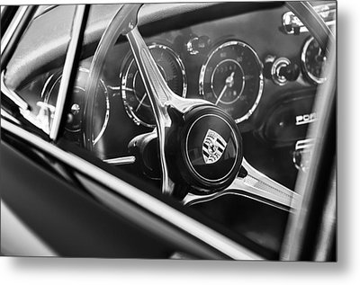 1963 Porsche 356 B 1600 Coupe Steering Wheel Emblem Metal Print by Jill Reger