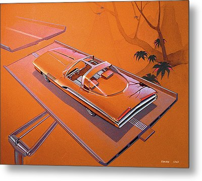 1963 Turbine Show Car  Plymouth Concept Car Vintage Styling Design Concept Rendering Sketch Metal Print by John Samsen