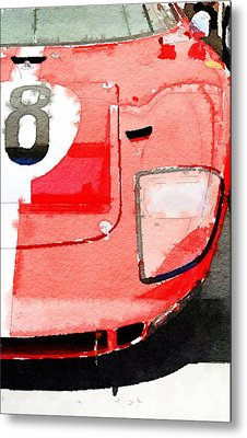 1964 Ford Gt40 Front Detail Watercolor Metal Print by Naxart Studio