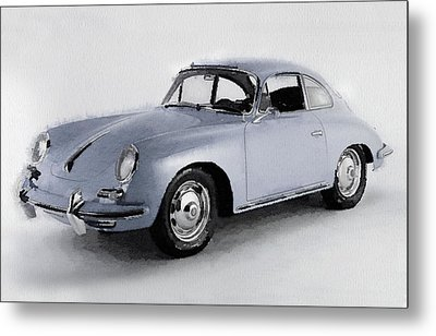1964 Porsche 356b Watercolor Metal Print by Naxart Studio