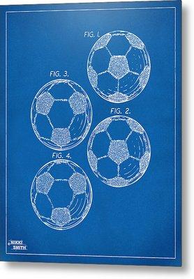1964 Soccerball Patent Artwork - Blueprint Metal Print by Nikki Marie Smith