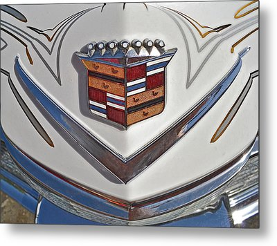 1965 Cadillac Hood Emblem Metal Print by Bill Owen