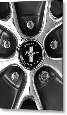 1965 Ford Mustang Gt Rim Black And White Metal Print by Jill Reger
